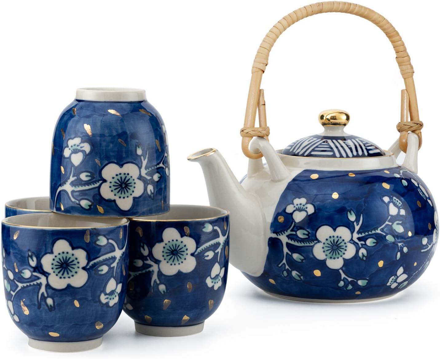 Taimei Teatime Hand Painted Tea Set, Ceramic Tea Cup Set with Infuser, Set for 4 Tea Server Sets and Tea Pot (25fl oz) for Loose Leaf Tea, Blue and White