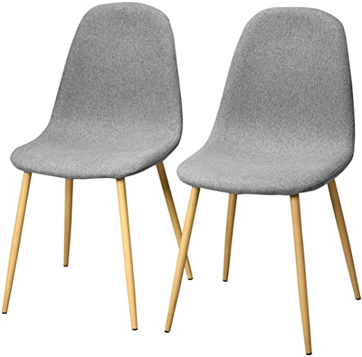 Giantex Set of 2 Kitchen Dining Chairs, Easily Assemble Modern Fabric  Cushion Seat Chair w/Metal Legs, Mid Century Armless Chairs for Kitchen,  Dining ...