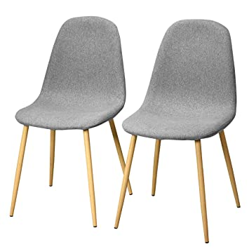 img buy Giantex Dining Side Chairs Set of 2 Sturdy Metal Legs Wood Look Fabric Cushion Seat Back Home Dining Room Furniture Chairs Set, Gray