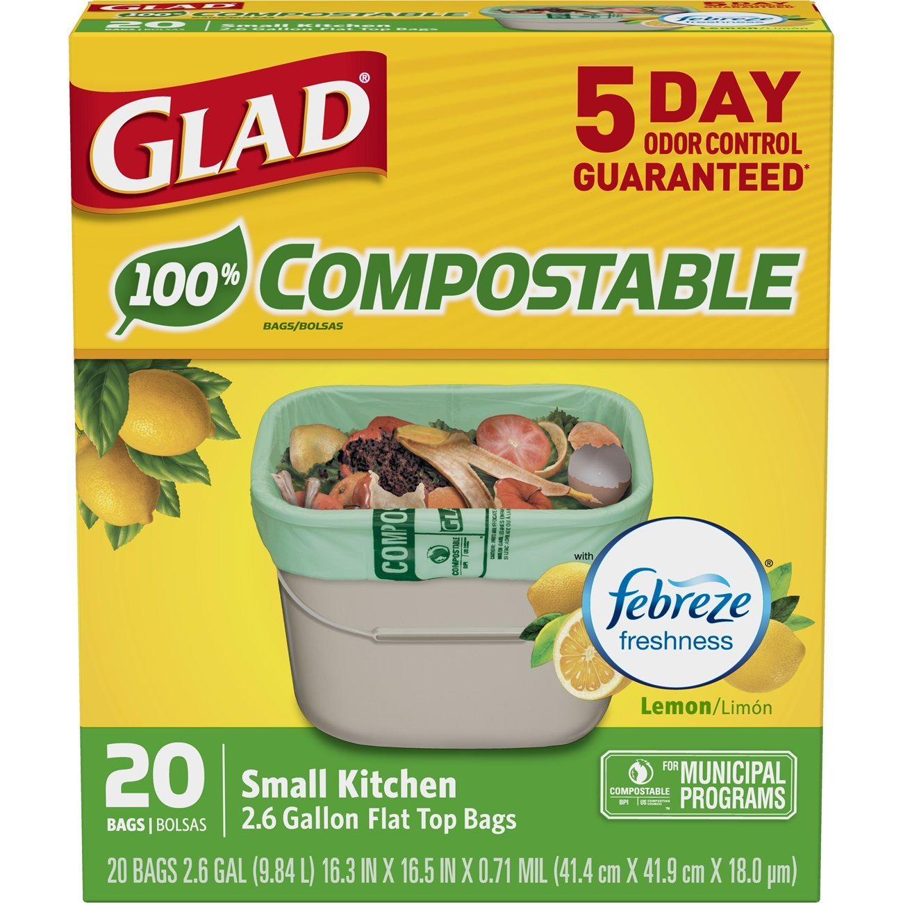 Glad Kitchen Compost Bags - OdorShield 2.6 Gallon 100% Compostable Green Trash Bag, Febreze Fresh Lemon - 20 Count