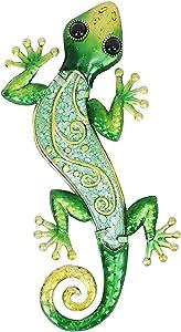 "Comfy Hour 12"" Metal Art Lizard Wall Decor Green"