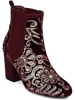 18e069c7f Alrisco Women Velvet Sequin Embroidered Block Heel Chelsea Bootie HE98