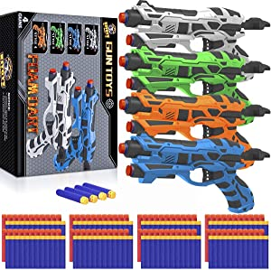 4 Pack Blaster Guns Toy Darts Gun for Boys, Hand Gun Toys Set with 80 Pcs Soft Foam Bullet for Kids Birthday Gifts Party Supplies Gun Toys for 4 5 6 7 Year Old Boys