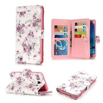 63e48ff8b87c Amazon.com: Galaxy J7 2016 Wallet Case,XYX [Small Roses][9 Card ...