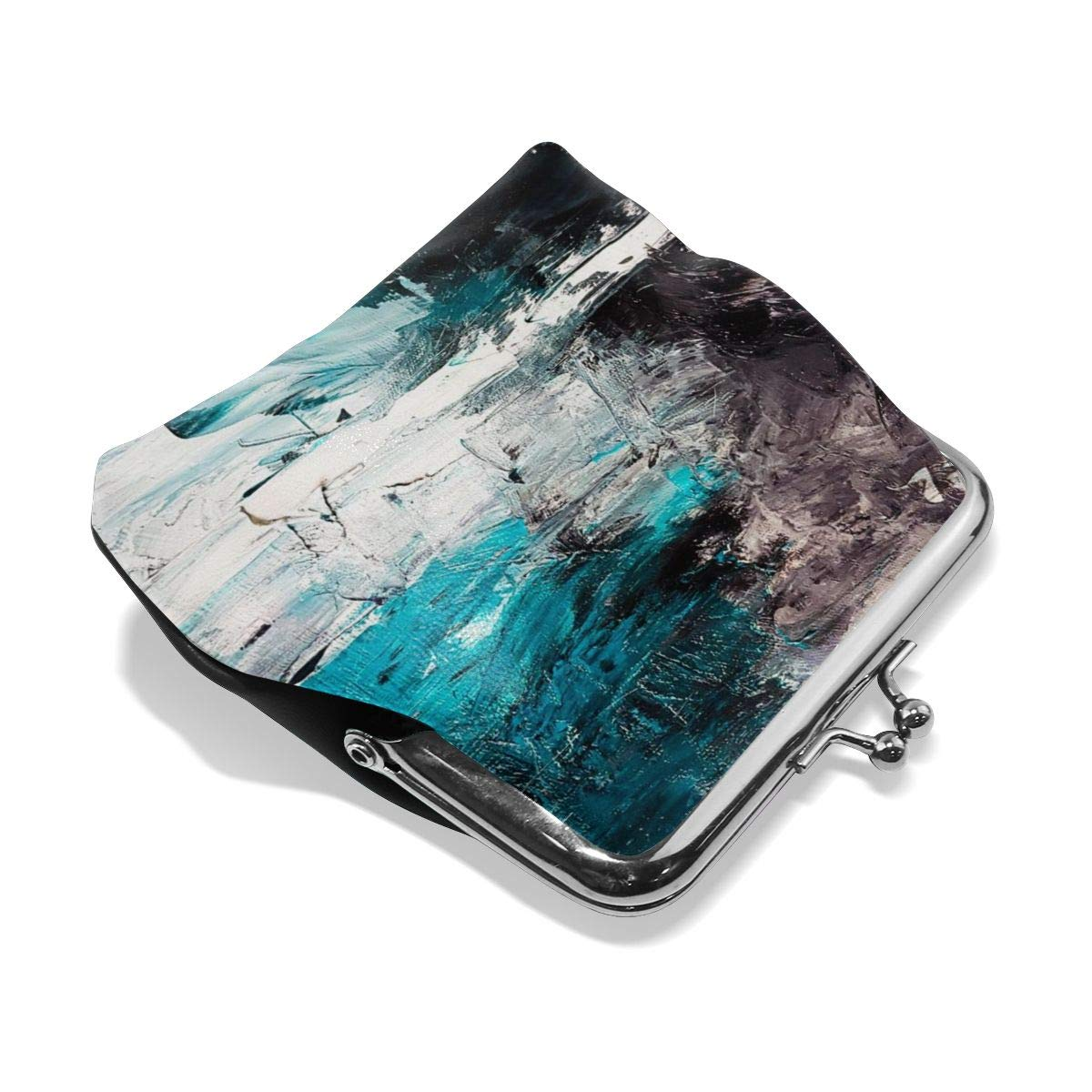 Poream Abstract Texture Ocean Painting Canvas Contemporary Art Retro Leather Cute Classic Floral Coin Purse Clutch Pouch Wallet For Girls And Womens