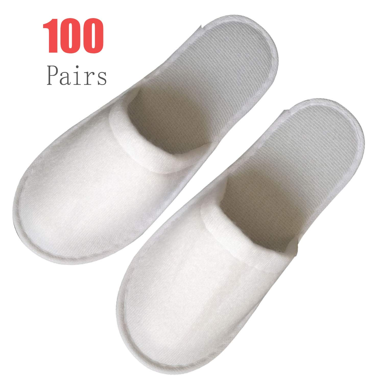 100Pairs Slippers Women and Men Disposable Portable Hotel Disposable Closed Toe Pull Plush Spa Slippers Women's Comfort Slip Waffle Slippers Men Universal Size Spa-