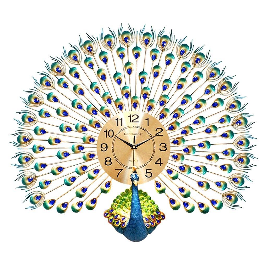 ピーコックウォールクロックリビングルームヨーロッパのクリエイティブ時計世帯ウォールチャート電子時計クォーツウォッチリビングルームウォールチャート26インチ B07DZZXW5P