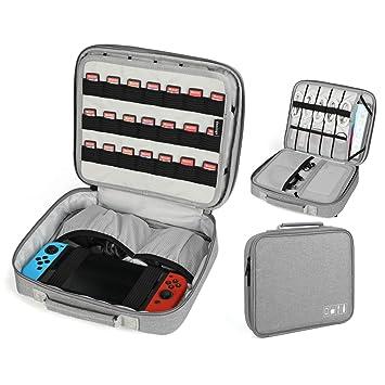 Vemingo Funda de Switch Nintendo con 21 Tarjetas de Juego, Bolsa de Almacenamiento para Accesorios del Organizador electrónico del Cable,Cargador y ...