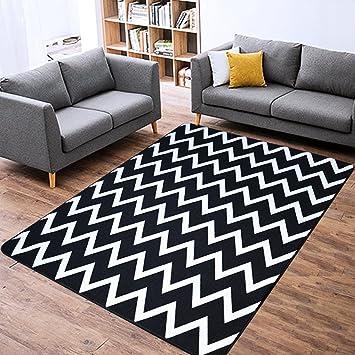 Tapis moderne simple noir blanc rayé mats chambre salon canapé ...
