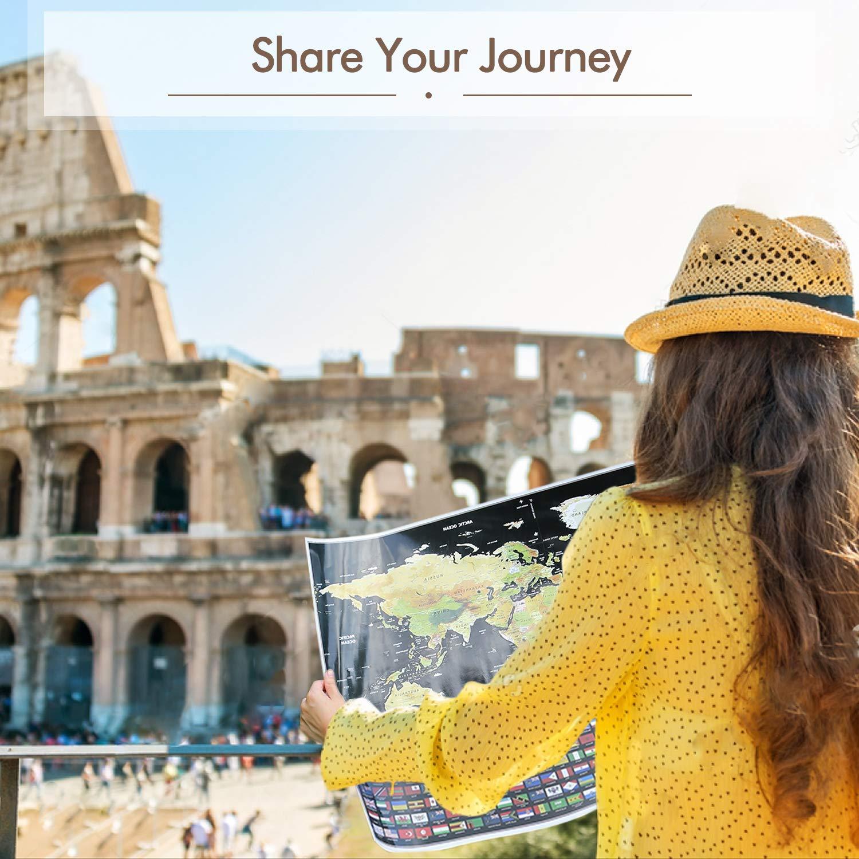 Mapa Rascar Para Viajar de Mapamundi Viajero del Mundo Decorar Pared Registra tus Aventuras con Bandera Nacional, Mejor Regalo Para Viajeros y ...