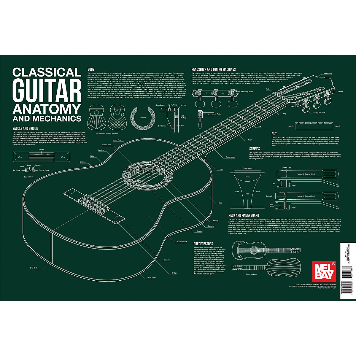 Classical Guitar Anatomy And Mechanics Wall Chart Charlie Lee