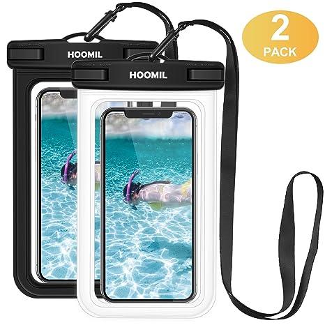 HOOMIL Funda Impermeable Móvil Universal, 2 Unidades Bolsa Estanca para iPhone XS/XR/8 Plus/7/6S/Samsung Galaxy A40/A50/A10 y Otros Móviles hasta 6.5 ...
