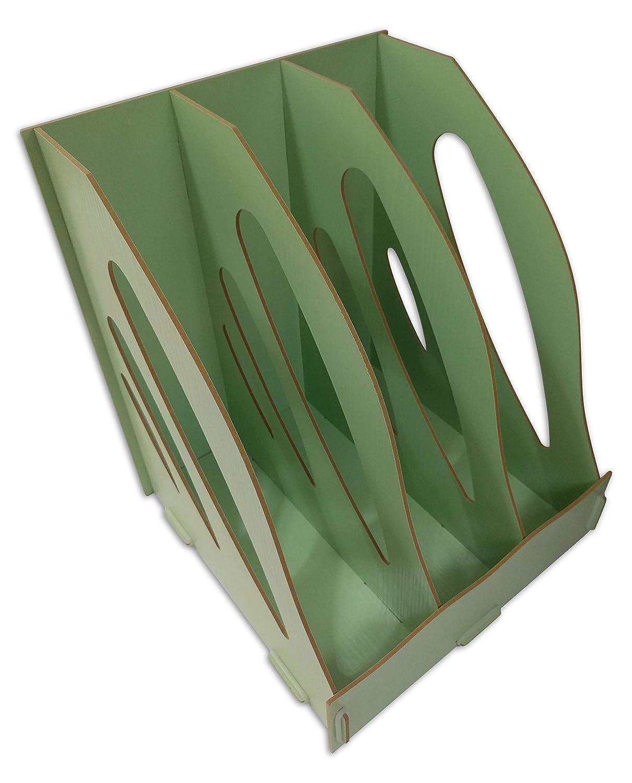 C/&K Solutions Binder Holder Desk Organizer Sturdy Wood Office File Folder Desktop Storage Wood Grain