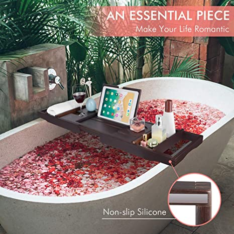 Sunix Bandeja de Bañera de Bambú Premium, Bandeja de baño ...