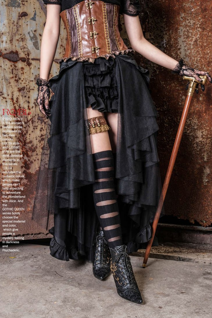HaoLin Steampunk Retro Victorian Punk Cincher Lace up Long Ruffle Pencil Skirt Black 5