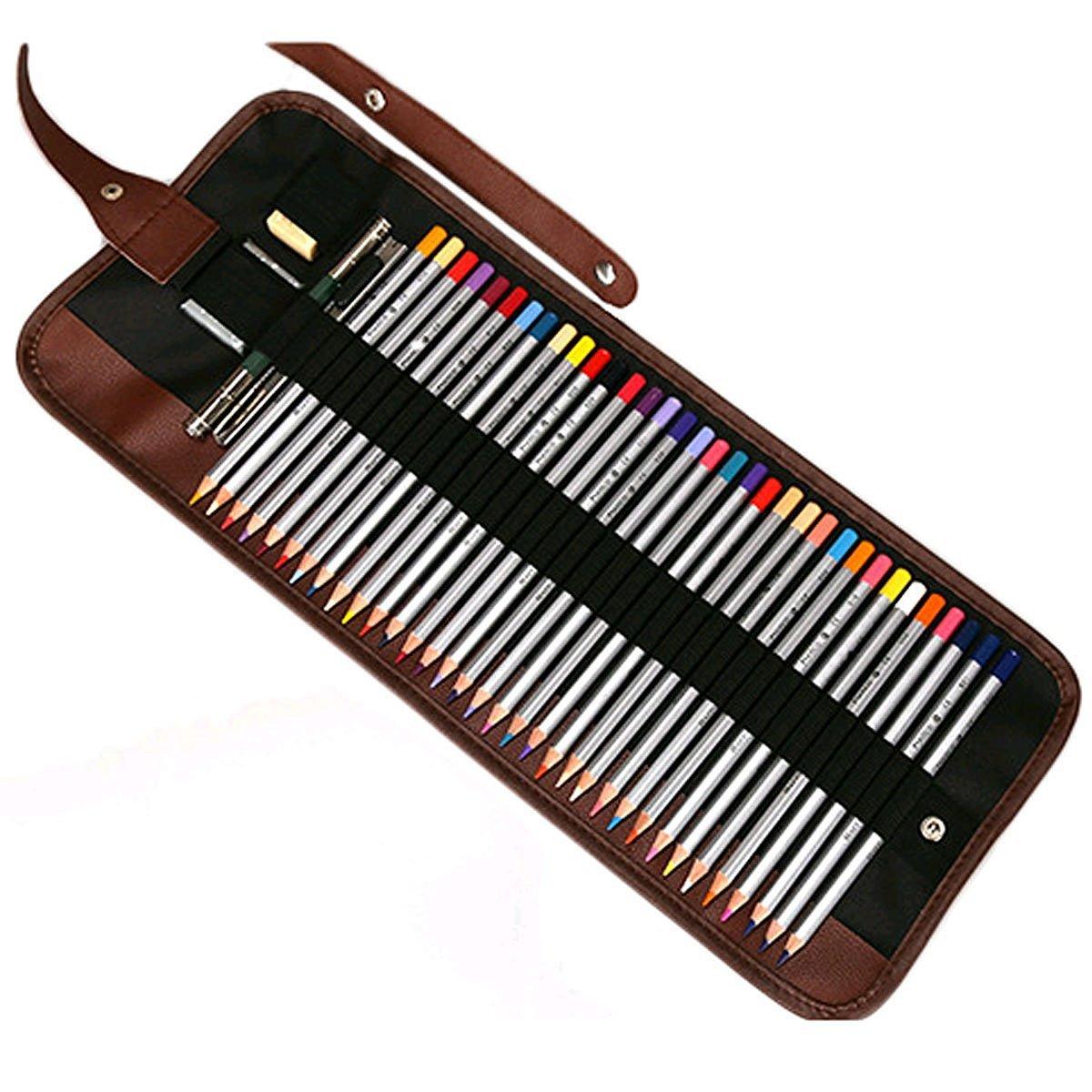 Ciaoed Federmäppchen Federtasche Mäppchen Schlamperrolle Filz Bleistift Beutel Für 36 Buntstifte Bleistifte sind nicht enthalten A