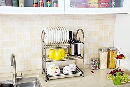 Roloz Dish Rack Drainer Drying Rack Holder 3-Tier Kitchen  sc 1 st  Amazon.com & Amazon.com: Roloz Dish Rack Drainer Drying Rack Holder 3-Tier ...