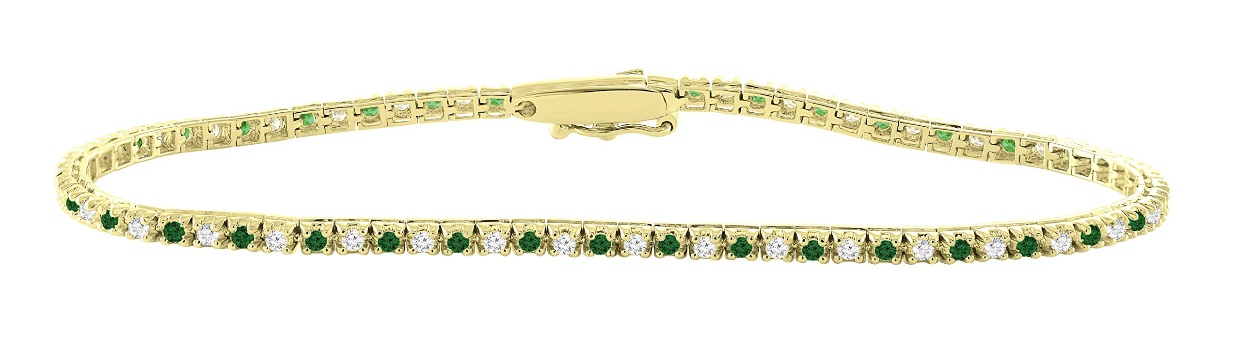 14K Yellow Gold 1.00 Carat (ctw) Real Natural White Diamond & Green Emerald Tennis Bracelet For Women 7 Inches