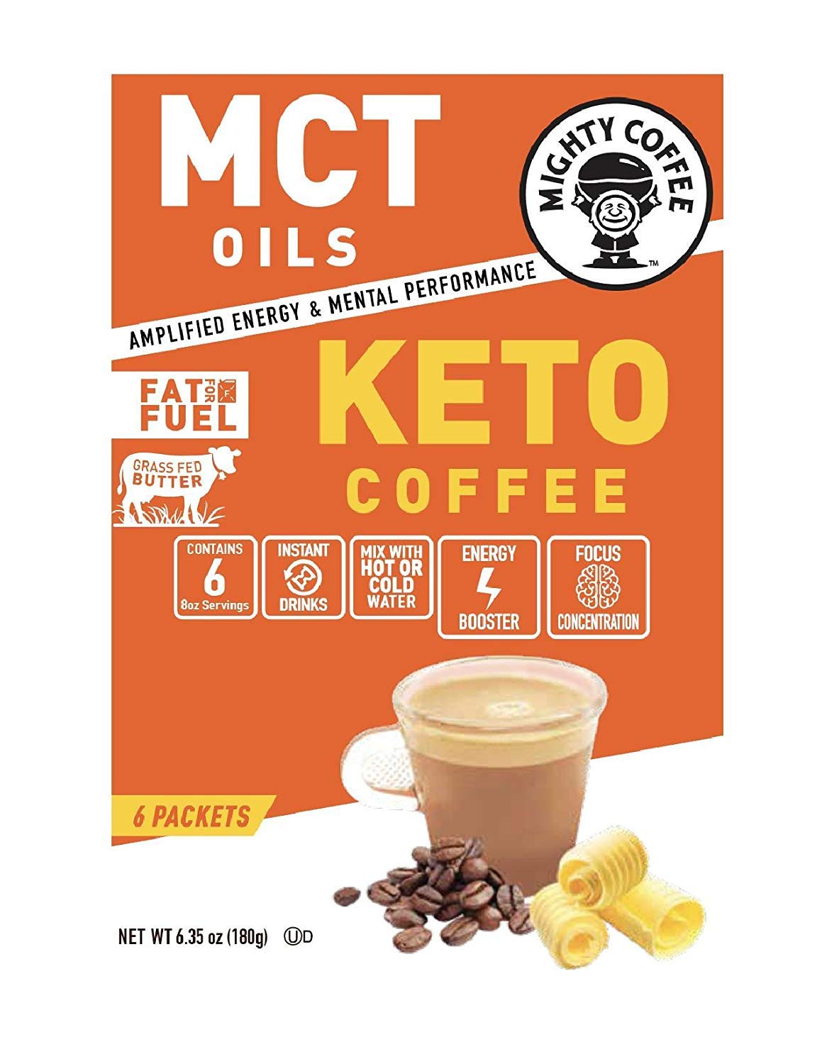 Mighty Coffee Keto Coffee, (6) Packets In Each Box (2 Boxes) by Mighty Coffee