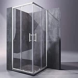 SONNI Mampara Ducha 90x90cm,Angular Puertas Corredera,Cabina de Ducha Retangular con Vidrio Templado de Seguridad 5mm: Amazon.es: Bricolaje y herramientas