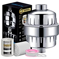 15 Stage Shower Filter For Hard Water - Shower Head Filter Remove Chlorine - Shower Filters 2 Cartridges Included - Consistent Water Flow Showerhead