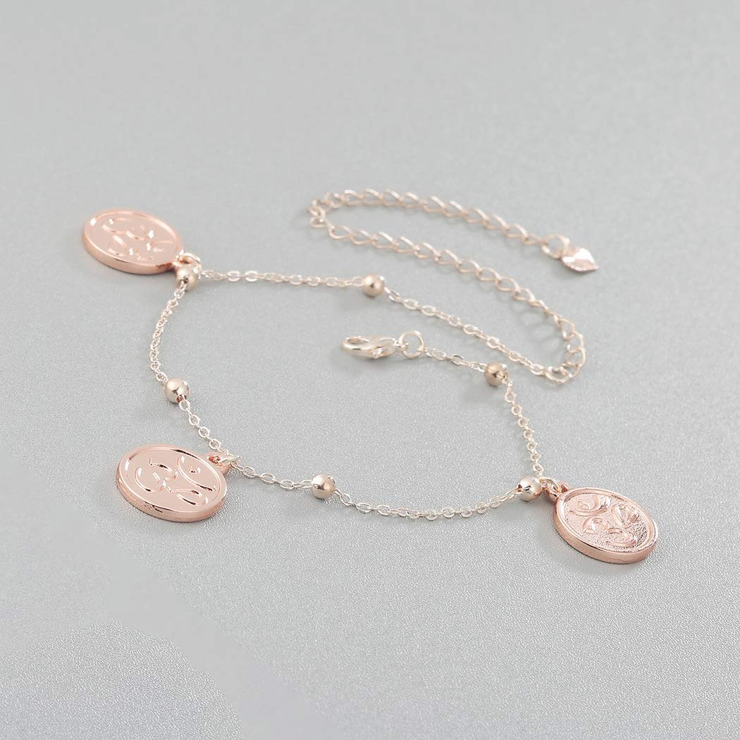 QIAMNI Rose Gold Silver Yoga Leg Chain Foot Jewelry Round Charm Anklet Bracelet Summer Anklets