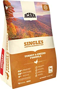 ACANA Turkey & Greens Dry Dog Food 4.5 Lb. Bag. Fresh Free-Run Turkey & Kentucky Greens Grain Free Dog Food