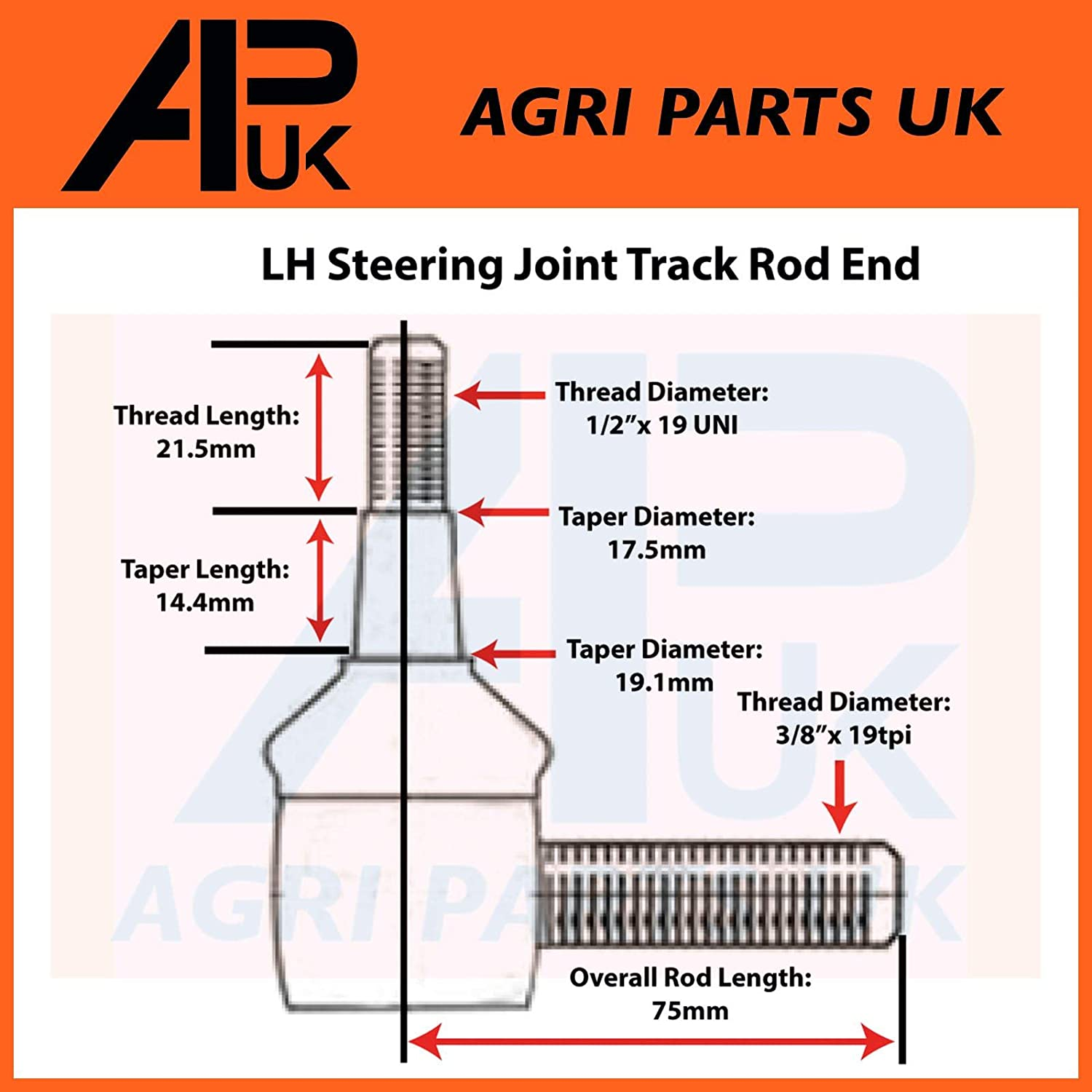 APUK Front Steering Drag Link Joint Track Rod End to fit International B250 B275 B276 Tractor
