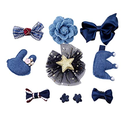 10pcs Love style Ribbon Bow Hair Clip  Hairpin Hair Accessories for Baby Girls