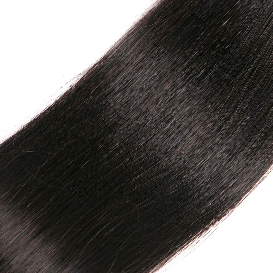 Brazilian Straight Hair With Closure 3 Bundles Unprocessed Virgin Human Hair Bundles With Lace Closure Free Part Hair Extensions Natural Color(12 14 16+10) by RUIMEISI (Image #8)