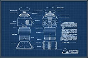 Lost in Space Environmental Control Robot B9 Blueprint Cool Wall Decor Art Print Poster 24x36