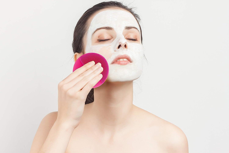 DAMAX Silicona Eléctrico Facial Limpiador Cepillo Masajeador Con Carga USB Y Recargable (Rojo)