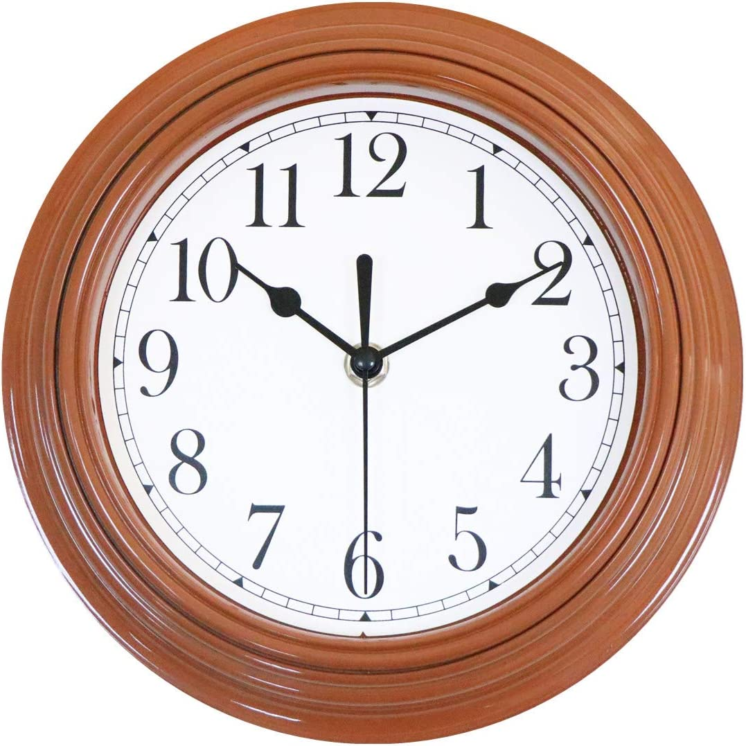 Foxtop 12 inch Silent Non-Ticking Round Modern Quartz Decorative Battery Operated Wall Clock for Living Room Kitchen Home Office School (Brown)