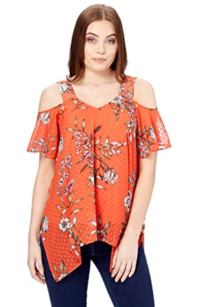 1ee4545ca2a26 Roman Originals Women Floral Print Cold Shoulder Top - Ladies Woven Short  Sleeve V-Neckline Dipped Hem Summer Going Out Tops - Red  Amazon.co.uk   Clothing