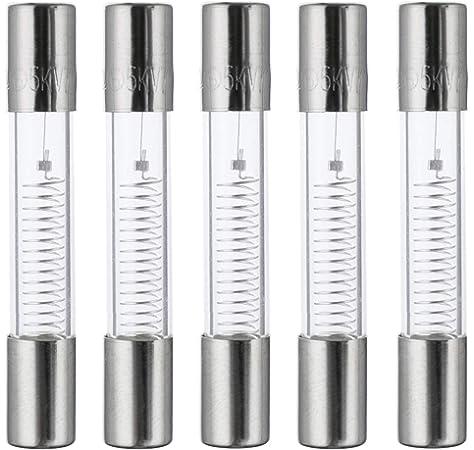 paquete de 5 piezas BOJACK 750 mA 5 KV 6 x 40 mm Fusibles de protecci/ón de horno de microondas de alto voltaje de soplado r/ápido 0.24 x 1.6 pulgadas 0.75 amp 5.000 voltios Fusible de tubo de vidrio