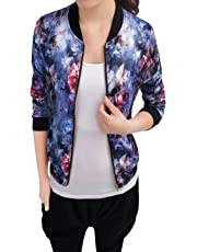 Allegra K Women's Stand Collar Zip Up Floral Prints Bomber Jacket