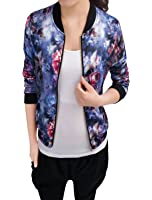 Allegra K Women's Long Sleeve Stand Collar Zip Up Floral Print Casual Bomber Jacket
