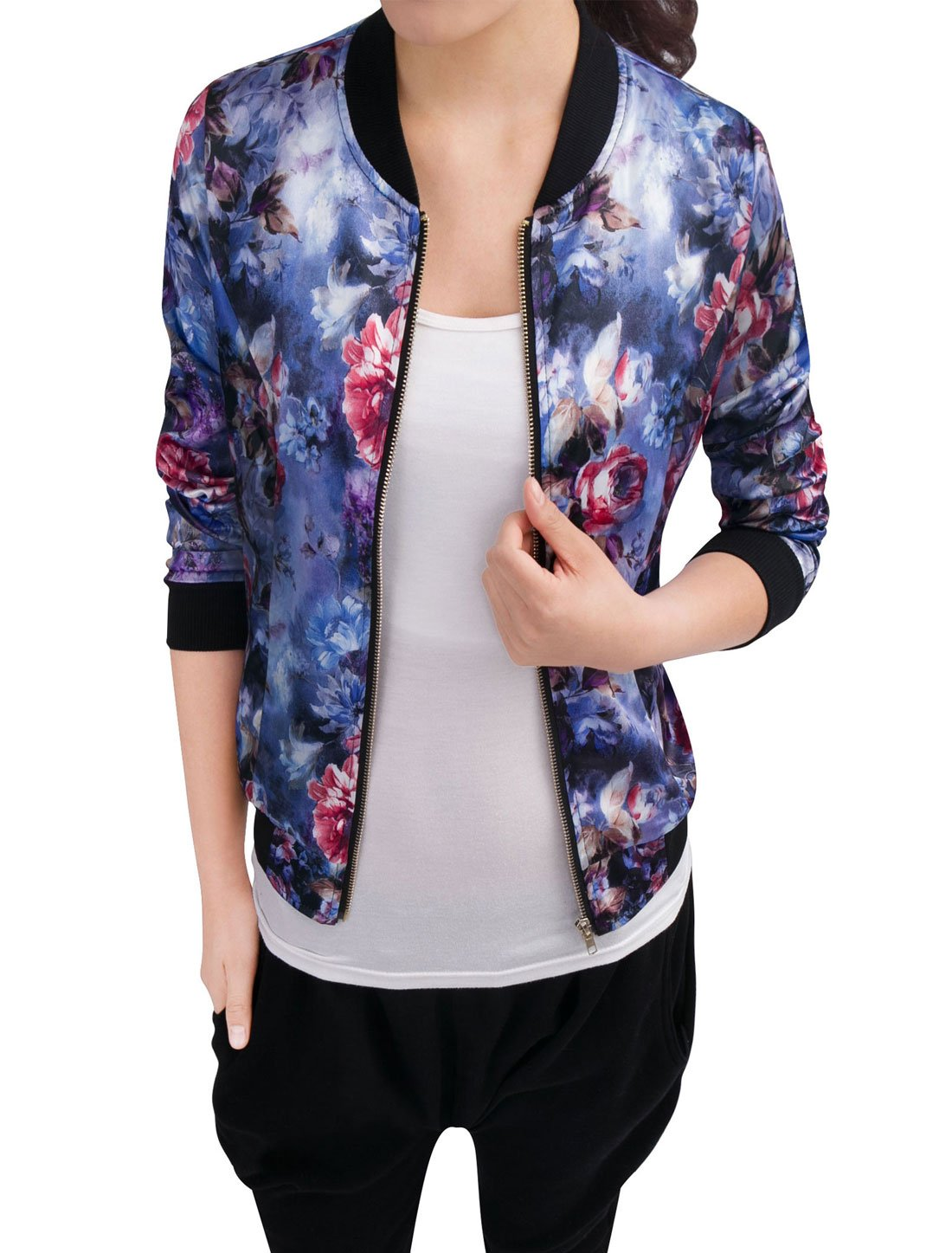 Allegra K Women's Long Sleeve Zip up Floral Print Casual Bomber Jacket Blue M