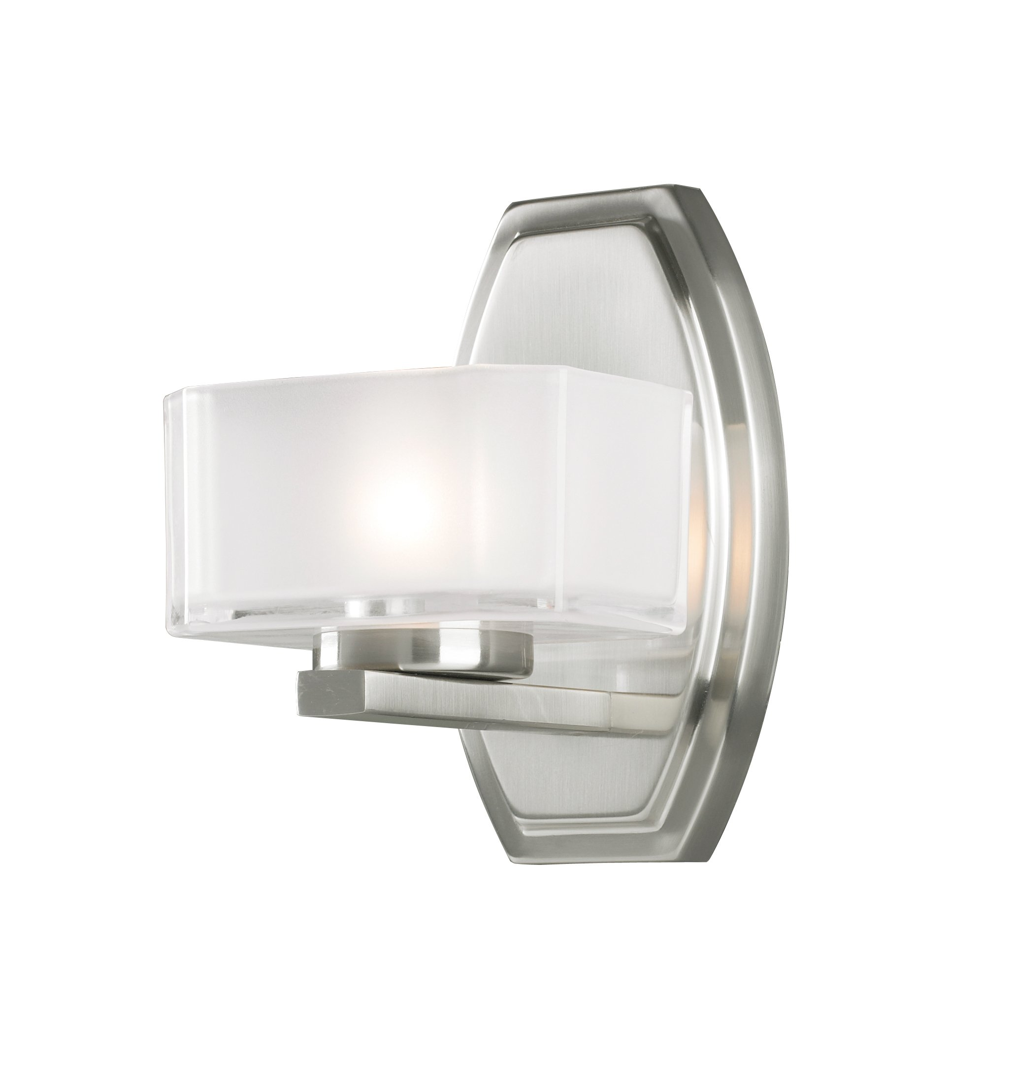 Z-Lite 3007-1V Cabro 1 Light Vanity Light, Steel Frame, Brushed Nickel Finish and Frosted White Inside and Clear Outside Glass Shade of Glass Material