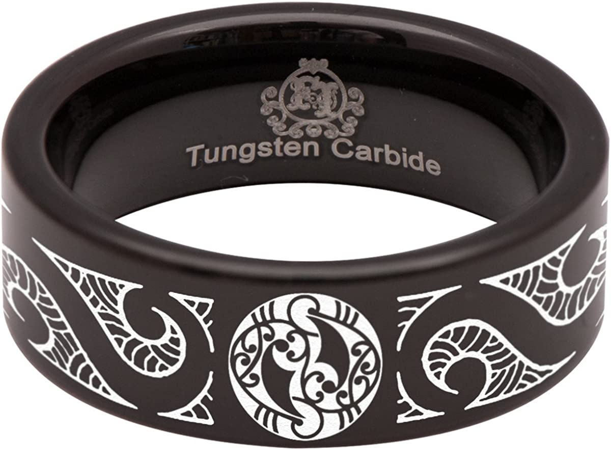 Silver Tungsten Carbide Tribal Heart Wedding Band and Anniversary Ring 8mm for Men and Women Size 7.5