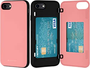 GOOSPERY Apple iPhone SE 2020 Case, iPhone 8 Case, iPhone 7 Case, Wallet Case with Card Holder, Protective Dual Layer Bumper Phone Case (Pink) IP8-MDB-PNK