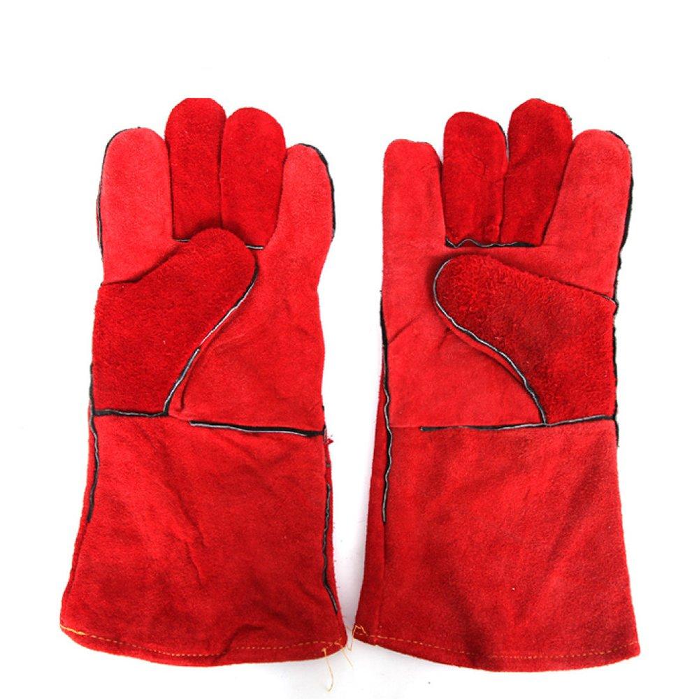 Welding gloves Guantes De Protección Aislamiento De Cuero Guantes De Soldador Resistentes Al Desgaste 5.5 Pulgadas,Red-OneSize: Amazon.es: Hogar