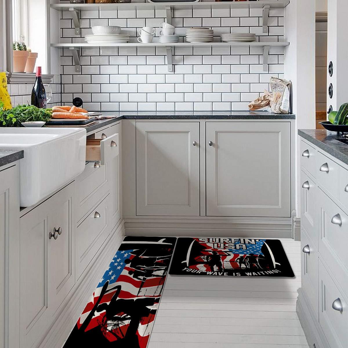 9 Piece Non Slip Rugs Waterproof Kitchen Rugs Fruit Pattern Runner ...