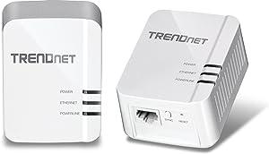 TRENDnet Powerline 1300 AV2 Adapter Kit, TPL-422E2K, Includes 2 x TPL-422E Powerline Ethernet Adapters, IEEE 1905.1 & IEEE 1901, Gigabit Port, Range Up to 300m (984 ft.), Simple Plug-in Installation