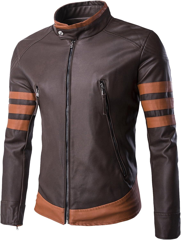 WSLCN X Men Vintage Faux Leather Motorcycle Jacket Brown