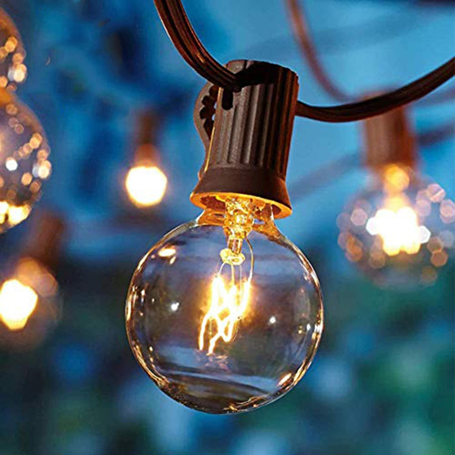 Goothy Outdoor String Lights, 25FT Hanging Patio Lights String with 27 G40 Clear Globe Bulbs (2 Spare), Connectable Globe String Lights for Indoor Outdoor Garden Commercial Decor, C7/E12 Base - Brown