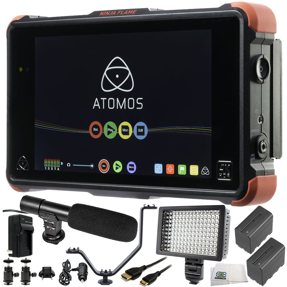 Atomos Ninja Flame 7'' 4K HDMI Recording Monitor 12 PC Accessory Bundle Includes 160 LED Light + 2 Replacement F970 Batteries + Mini HDMI Cable + AC/DC Rapid Home & Travel Charger + More by SSE