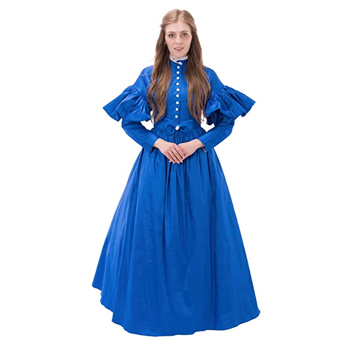Make an Easy Victorian Costume Dress with a Skirt and Blouse 1791s lady 1840 Victorian Day Dress Vintage Medieval Dress NQ0004 $145.20 AT vintagedancer.com