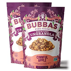 Bubba's Fine Foods Granola, Cinnful Apple (Pack of 2) | Grain-Free, Gluten-Free, Paleo, Dairy Free and Certified Non-GMO