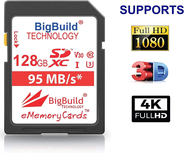 Scheda di memoria UHS-I U3 A100 per fotocamere Nikon 1 J1 B700 Nikon COOLPIX A10 95 MB//s P900 V2 B500 AW130 W100 W300 A900 BigBuild Technology S1 P1000 A300
